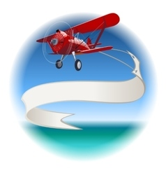 Retro Biplane with banner vector image vector image