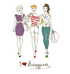 with three fashion girls vector image