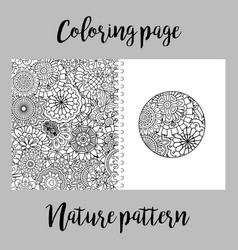 Coloring page with nature pattern vector