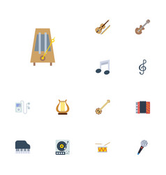 flat icons acoustic lyre octave keyboard and vector image vector image