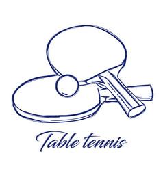 Table tennis bats and ball vector