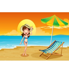 A beach with a girl vector image