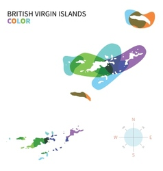 Abstract color map of British Virgin vector image