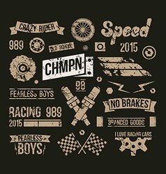 Car races club badges in retro style vector image