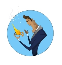 cartoon businessman with magic vector image vector image