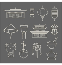 chineese travel icons vector image vector image