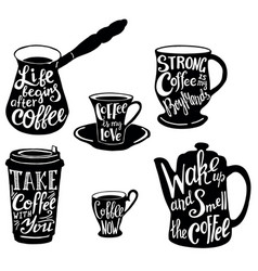 Cute coffee quotes and sayings typography vector