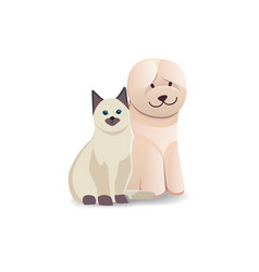 cute home pets cartoon cat and dog best friends vector image