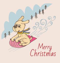 doodle dog sled christmas postcard vector image vector image