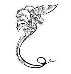 fantasy animal dragon black decorative vector image vector image