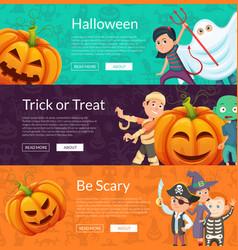 halloween banner set template with cartoon vector image