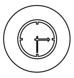 monochrome contour circular frame with wall clock vector image