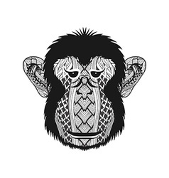 Zentangle stylized head Monkey face Hand Drawn vector image vector image