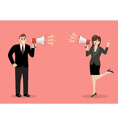 Businessman and woman are shouting on each other vector image vector image