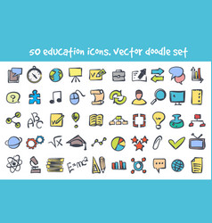 doodle nature icons set vector image