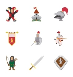 Military middle ages icons set cartoon style vector image