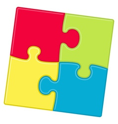puzzle pieces background with four different color vector image