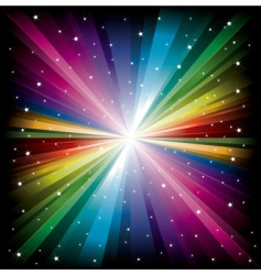 rainbow light with white stars vector image
