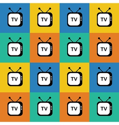 Retro tv web icon Seamless pattern background vector image vector image