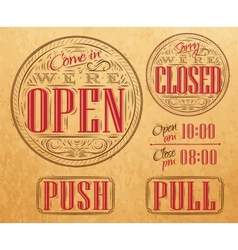 Set vintage open closed kraft vector image