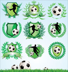 Soccer shield and laurel wreath set vector image vector image