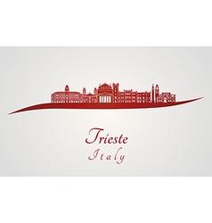 Trieste skyline in red vector image