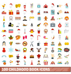 100 childhood book icons set flat style vector image