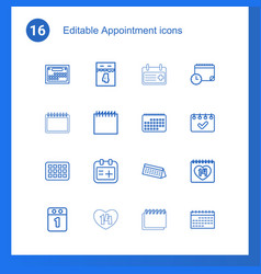 16 appointment icons vector
