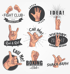 A set of 9 realistic emblems logo gestures of vector