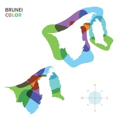 Abstract color map of Brunei vector image