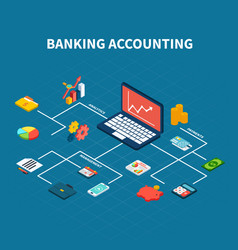 Bank accounting isometric flowchart vector