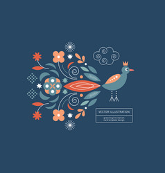 bird with beauty tail greeting or invitation card vector image