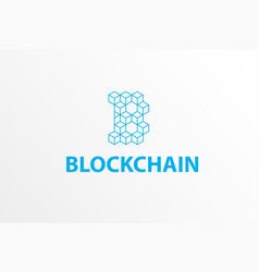 blockchain logo or icon - 3d isometric cube vector image