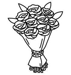 Bouquet icon doddle hand drawn or black outline vector