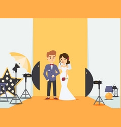 bride and groom at wedding photoshoot in photo vector image