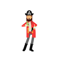 Cartoon flat character of bearded pirate captain vector