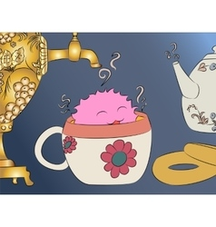 Cartoon monster tea cup samovar teapot vector
