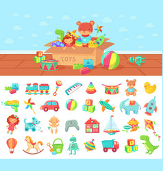 Cartoon toys set kids play block and vector