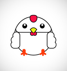 Cartoon white chicken vector