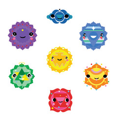 Chakra symbols kawaii style vector