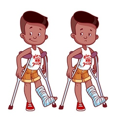 Cheerful and sad boy with a broken leg in a cast vector