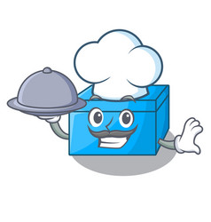 Chef with food cartoon tissue box on a sideboard vector
