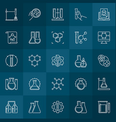 Chemical concept outline icons chemistry vector