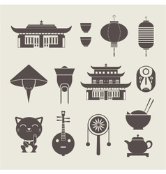 Chineese travel icons vector