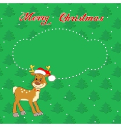 Christmas card with little deer vector image