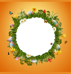 congratulations easter with egg and round frame vector image