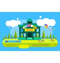 Cute cartoon school building vector image