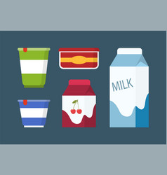 dairy and milk products set in cartoon style vector image