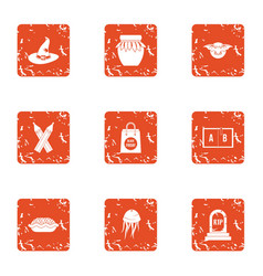 Deadly mistake icons set grunge style vector