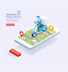 delivery service online scooter isometric vector image